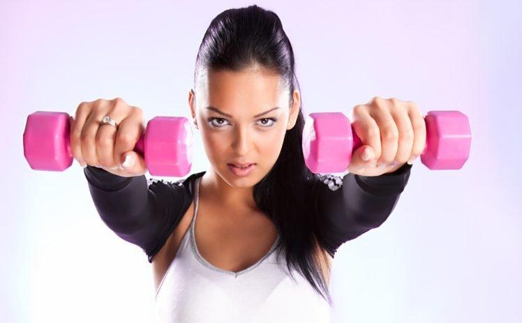 Sports Model Women Dumbbells Fitness Model Hd Wallpapers