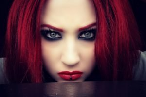 women, Model, Redhead, Long hair, Face, Portrait, Blue eyes, Looking at viewer, Pierced lip, Makeup, Gray eyes, Airbrushed, Gothic, Niky Von Macabre, Bloodsuccubus, DeviantArt
