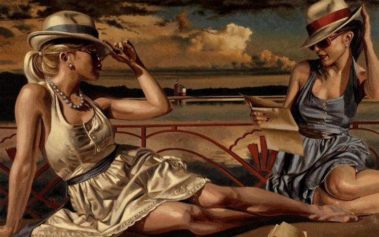 women, Model, Brunette, Long hair, Women outdoors, Artwork, Painting, Sitting, Legs, Blonde, Barefoot, Sunglasses, Beach, Sea, Clouds, House, Paper HD Wallpaper Desktop Background