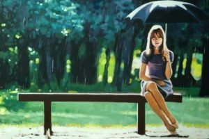 women, Model, Brunette, Long hair, Women outdoors, Artwork, Painting, Sitting, Legs, Umbrella, Rain, Bench, Trees, Looking at viewer