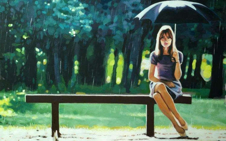 women, Model, Brunette, Long hair, Women outdoors, Artwork, Painting, Sitting, Legs, Umbrella, Rain, Bench, Trees, Looking at viewer HD Wallpaper Desktop Background