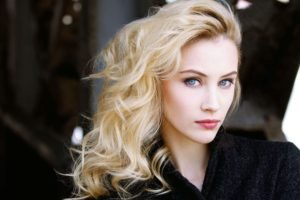 Sarah Gadon, Blonde, Blue eyes, Face, Women