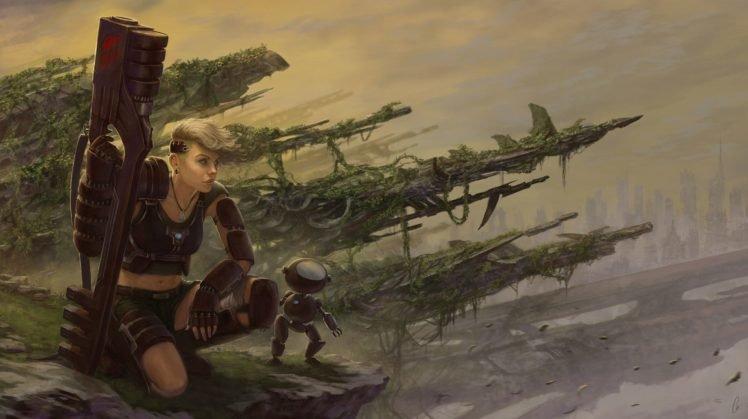 artwork, Futuristic, Robot, Science fiction, Women, Weapon HD Wallpaper Desktop Background