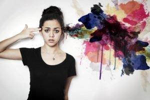 women, Artwork, Model, Hands on head, Colorful