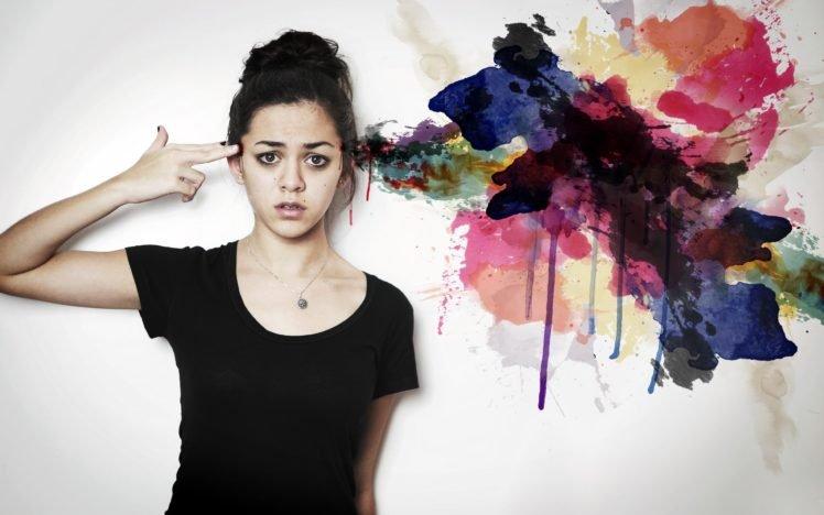 women, Artwork, Model, Hands on head, Colorful HD Wallpaper Desktop Background