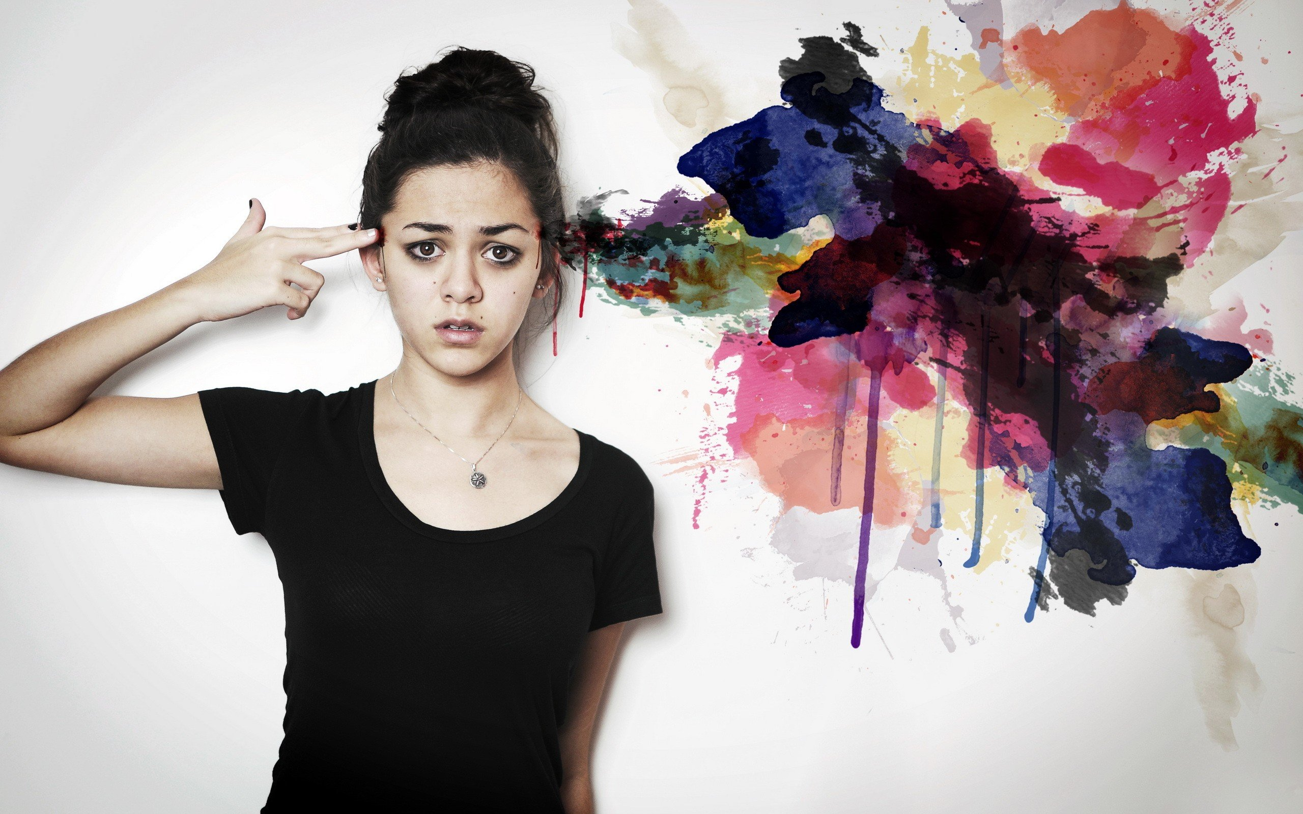 women, Artwork, Model, Hands on head, Colorful Wallpaper
