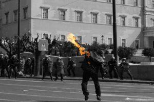 protestors, Selective coloring, Greece, Athens, Molotov
