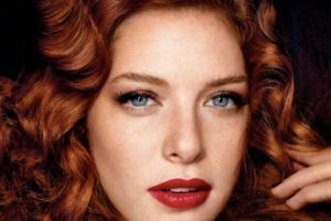 women, Model, Redhead, Long hair, Face, Portrait, Blue eyes, Looking at viewer, Open mouth, Rachelle Lefevre, Actress, Wavy hair, Freckles, Red lipstick