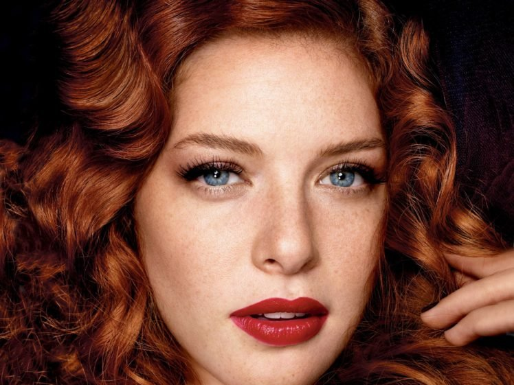 women, Model, Redhead, Long hair, Face, Portrait, Blue eyes, Looking at viewer, Open mouth, Rachelle Lefevre, Actress, Wavy hair, Freckles, Red lipstick HD Wallpaper Desktop Background
