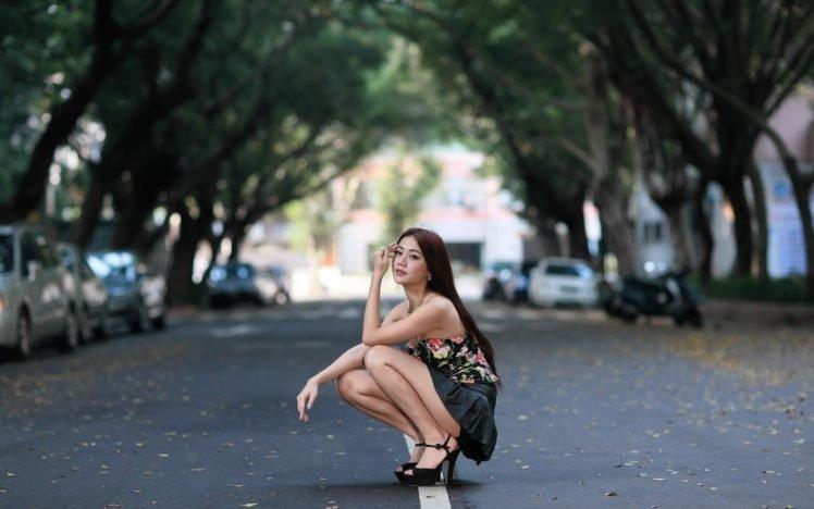 women, Asian, Skirt, Brunette, Women outdoors HD Wallpaper Desktop Background