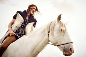 Crista Cober, Model, Women, Auburn hair, Horse