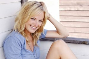 Malin Akerman, Blonde, Blue eyes, Women, Bracelets, Smiling, T shirt, Looking at viewer