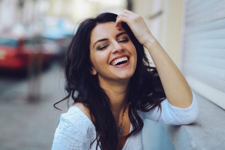 women, Model, Brunette, Smiling, Depth of field, David Olkarny, Aurela Skandaj, Laughing HD Wallpaper Desktop Background