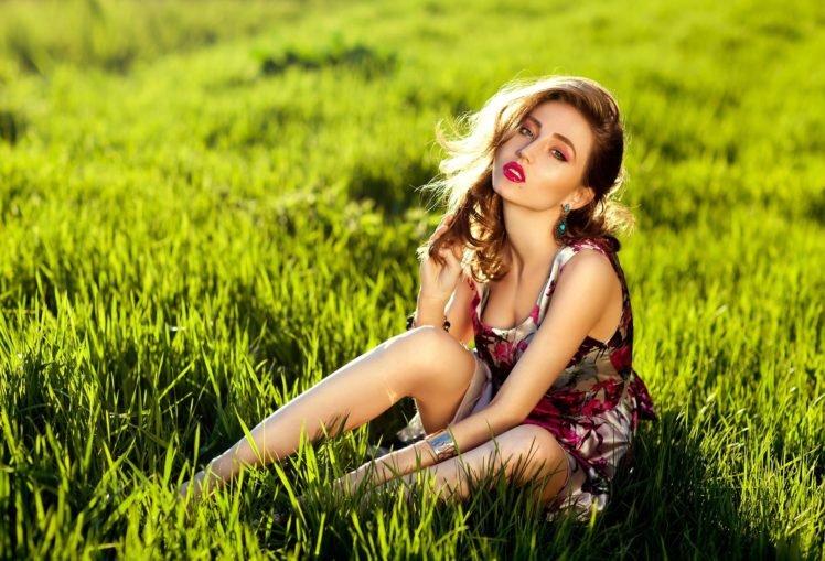 women, Model, Brunette, Dress, Blue eyes, Alyssa Framm, Colorful, Nature, Makeup HD Wallpaper Desktop Background