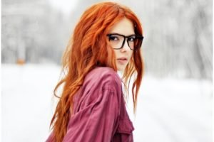 women, Redhead, Women with glasses