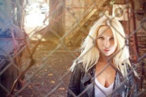 women, Blonde, Leather jackets