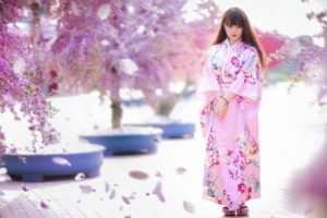 women, Model, Brunette, Long hair, Asian, Women outdoors, Japanese clothes, Geisha, Trees, Pink dress, Flowers, Blossoms, Street, Blurred, Looking away, Japanese women
