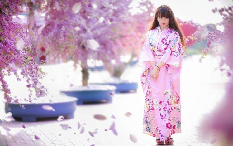 women, Model, Brunette, Long hair, Asian, Women outdoors, Japanese clothes, Geisha, Trees, Pink dress, Flowers, Blossoms, Street, Blurred, Looking away, Japanese women HD Wallpaper Desktop Background
