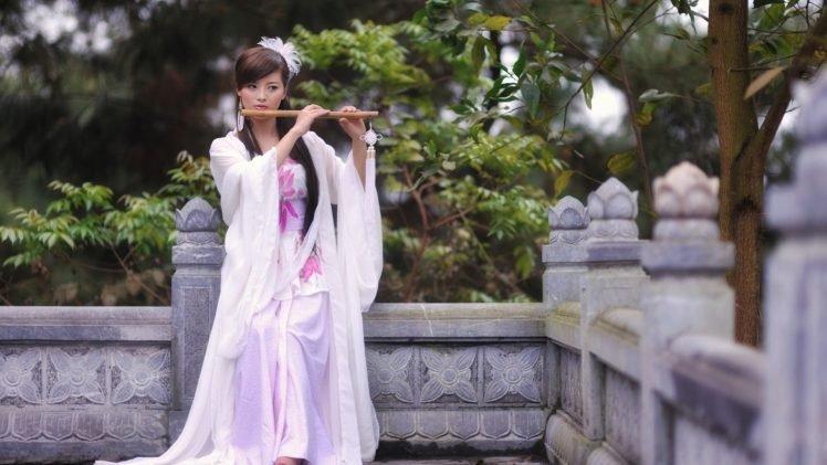 women, Model, Brunette, Long hair, Asian, Women outdoors, Musicians, Flute, Japanese clothes, White dress, Trees, Playing, Japanese women HD Wallpaper Desktop Background