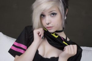Cheshi Suicide, Blonde, Piercing, Bra, Nose rings