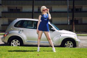 Lauren Wk, Model, Women, Blue dress, Car