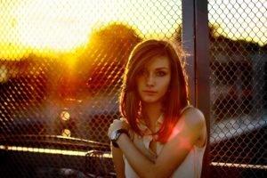 women, Sunset, Fence