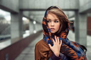 rings, Long hair, Women, Model, Auburn hair, Hazel eyes, Scarf, Juicy lips, Portrait, Georgiy Chernyadyev, Anastasia Scheglova