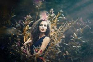women, Brunette, Model, Long hair, Women outdoors, Grass, Blue eyes, Ksenia Malinina