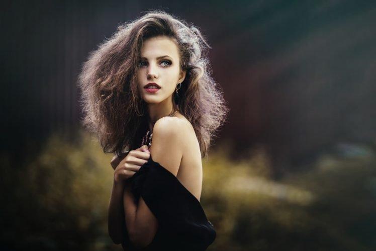 women, Dress, Long hair, Ksenia Malinina, Brunette, Black dress, Green eyes, Model HD Wallpaper Desktop Background
