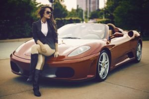 car, Ferrari, Women, Sunglasses, Women with cars, Legs  crossed, Long hair, Brunette, Natalya Ignatenko