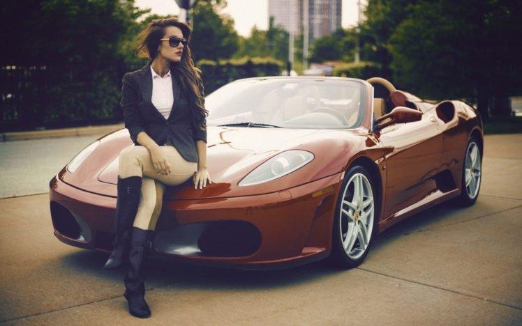 car, Ferrari, Women, Sunglasses, Women with cars, Legs  crossed, Long hair, Brunette, Natalya Ignatenko HD Wallpaper Desktop Background