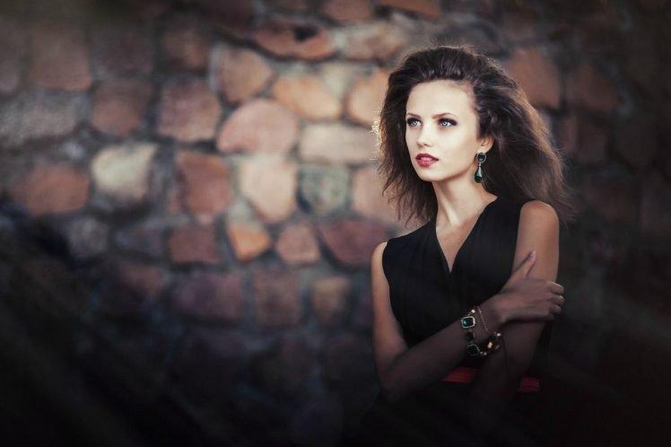 women, Brunette, Long hair, Ksenia Malinina, Dress, Bracelets, Model HD Wallpaper Desktop Background