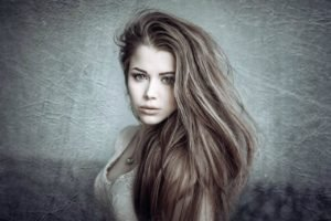 women, Brunette, Long hair, Dress, Face, Green eyes