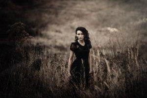 women, Brunette, Long hair, Women outdoors, Dress, Grass, Black dress