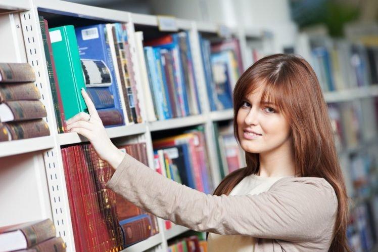 women, Model, Brunette, Long hair, Books, Library, Shelves, Smiling, Looking at viewer, Face, Blue eyes HD Wallpaper Desktop Background