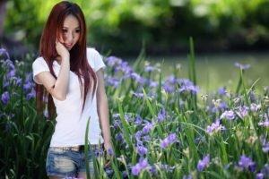 women, Asian, Flowers, Jean shorts