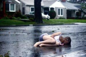 women, Road, Rain