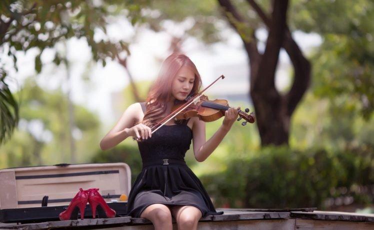 women, Asian, Violin HD Wallpaper Desktop Background