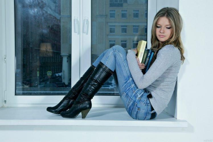 Catherine A., Women, Blonde, Blue eyes, Books, Leather boots HD Wallpaper Desktop Background