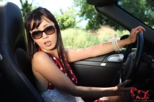 women, Brunette, Asian, Sports car, Porsche, Sunglasses, Nature