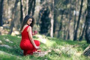 women, Red dress, Women outdoors, Apples, Baskets, Curly hair