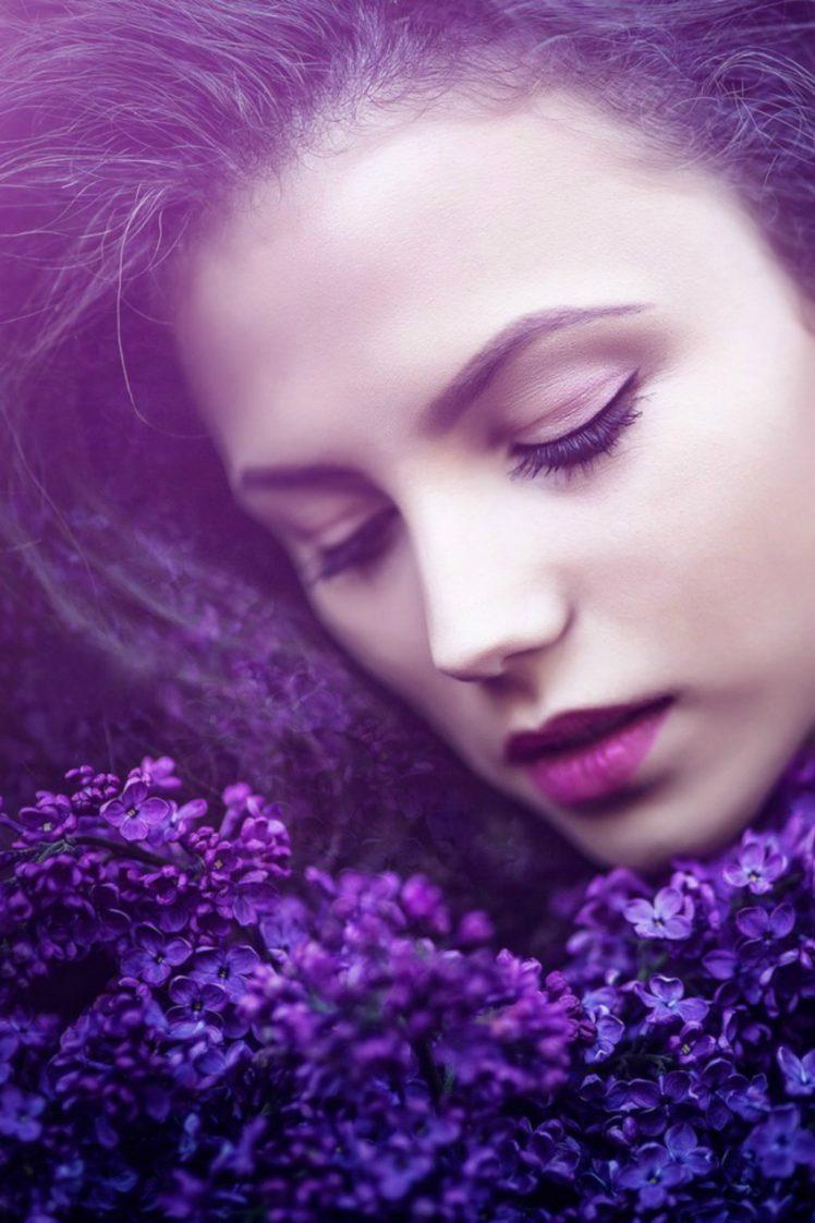 women, Brunette, Face, Lilac, Grass, Women outdoors, Ksenia Malinina, Model HD Wallpaper Desktop Background