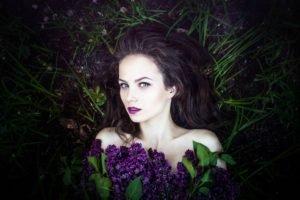 women, Brunette, Face, Lilac, Grass, Nature, Women outdoors, Ksenia Malinina, Green eyes, Model
