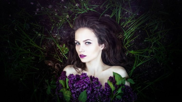 women, Brunette, Face, Lilac, Grass, Nature, Women outdoors, Ksenia Malinina, Green eyes, Model HD Wallpaper Desktop Background