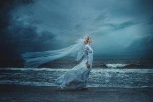 women, Sea, Brides, Profile, Windy