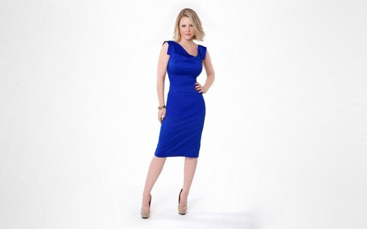 simple background, Carrie Keagan, Blonde, High heels, Blue dress, Women HD Wallpaper Desktop Background