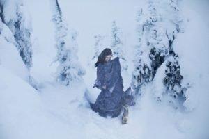 winter, Snow, Model, Women outdoors, Women, Rabbits
