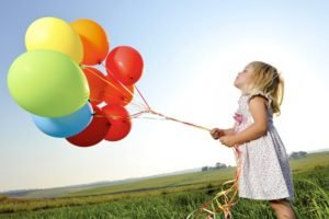 little girl, Balloons, Colorful, Nature