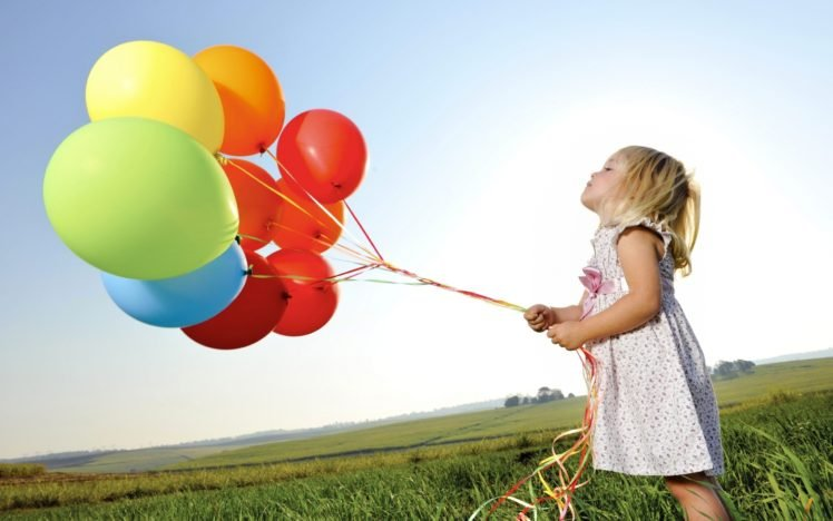 little girl, Balloons, Colorful, Nature HD Wallpaper Desktop Background