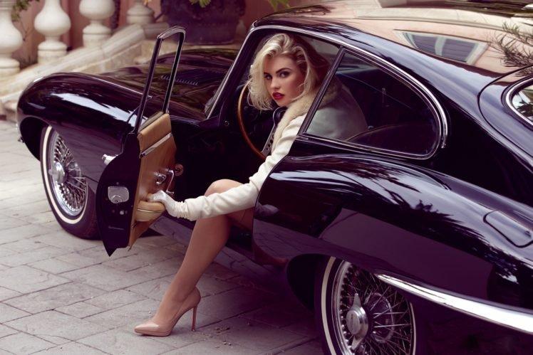 Kayslee Collins, Jaguar E Type, Women with cars, Women, Blonde, High heels, Red lipstick, Stockings HD Wallpaper Desktop Background